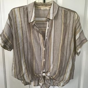 Ladies Short Sleeve Button Down with Tie Front